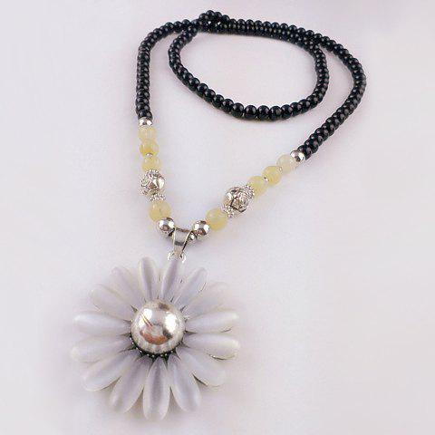 Trendy Gemstone Embellished Sunflower Shape Sweater Chain Necklace For Women - COLORMIX