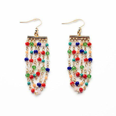 Pair of Trendy Colorful Beads Embellished Earrings For Women - COLORFUL