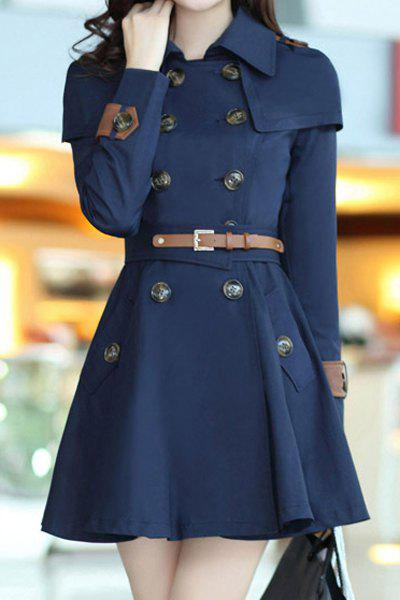 Stylish Long Sleeve Turn-Dowm Collar Double-Breasted With Belt Women's Trench Coat - DEEP BLUE 2XL