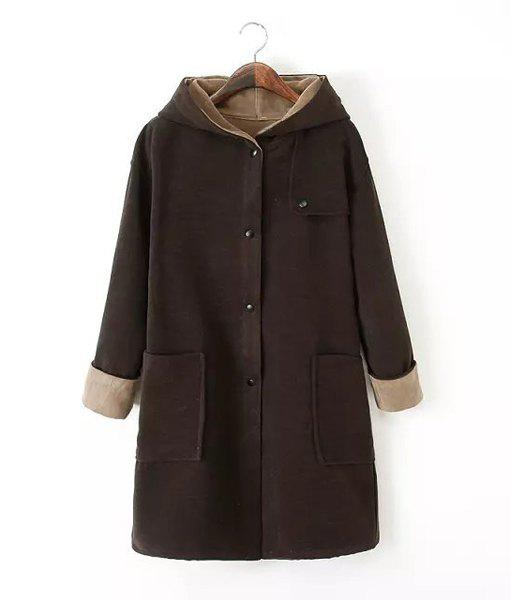 Solid Color Worsted Hooded Long Sleeve Pockets Fashionable Women's Coat - DEEP BROWN S