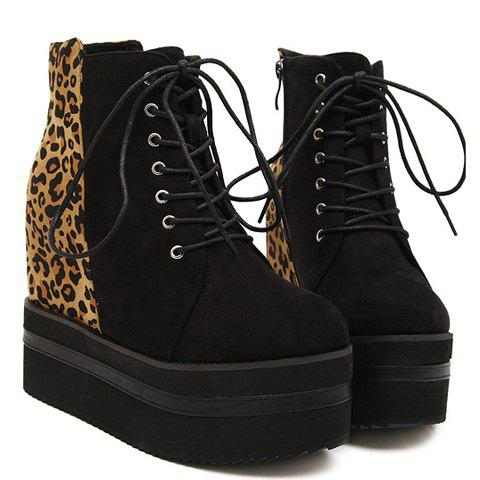 Trendy Leopard Print and Platform Design Women's Short Boots - BLACK 38