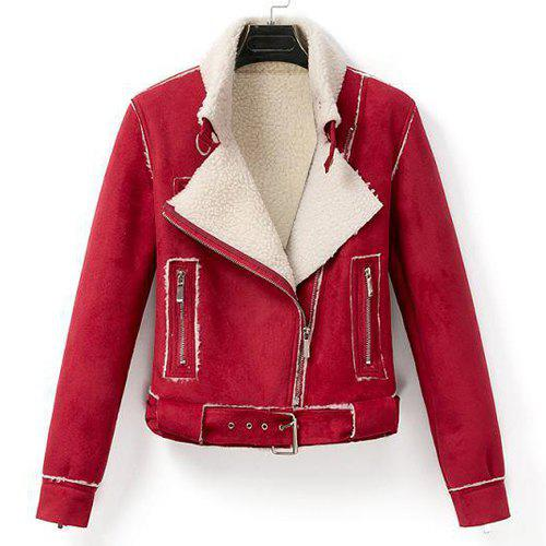 Stylish Multi-Zippers and Waistband Design Turn-Down Collar Long Sleeve Coat For Women - RED M