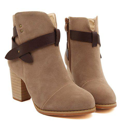 British Style Chunky Heel and Splicing Design Women's Short Boots - BROWN 36