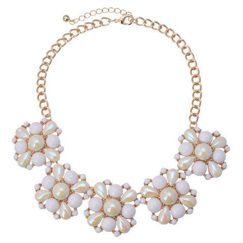 Trendy Faux Pearl and White Gemstone Embellished Necklace For Women - AS THE PICTURE