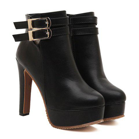 Trendy Style Buckle and Chunky Heel Design Women's Short Boots - BLACK 37