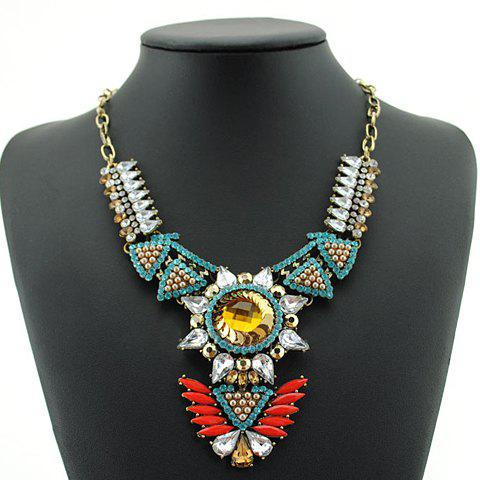 Hyperbolic Retro Women's Gem Decorated Necklace - BROWN