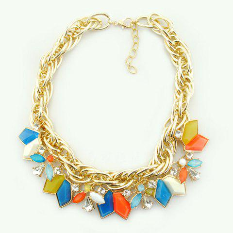 Bohemian Style Colorful Pendant Embellished Necklace For Women - COLORFUL