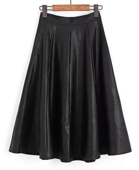 Elegant PU Leather Black Zipper Fly Pleated Skirt For Women