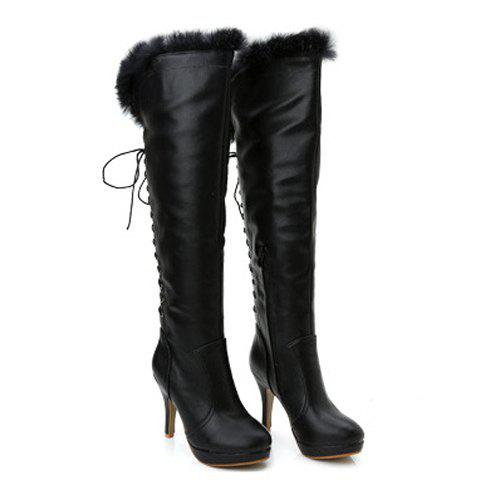 Fashionanle Lace-Up and Plush Design Boots For Women - BLACK 38