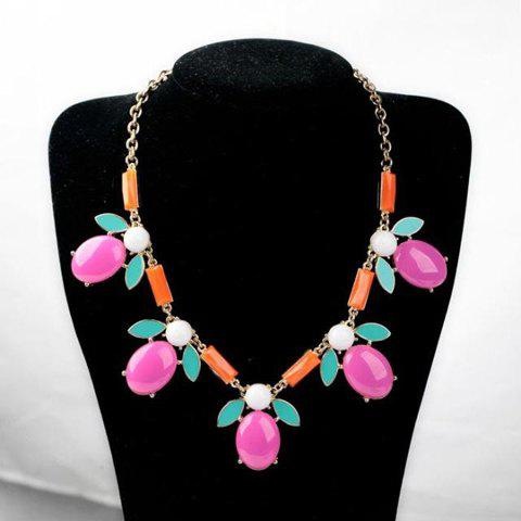 Stylish Candy Color Gemstone Embellished Women's Necklace - AS THE PICTURE