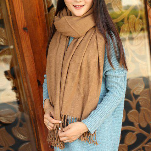 Classical Solid Color Tassels Fringe Design Scarf For Women - CAMEL