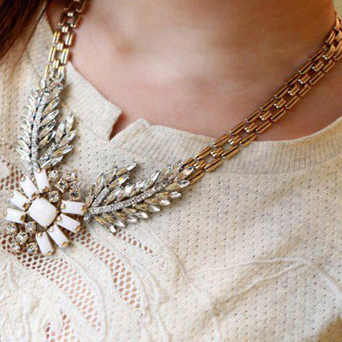 Stylish Chic Women's Rhinestone Decorated Wings Necklace - AS THE PICTURE