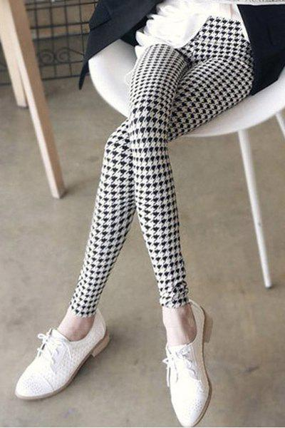 Stylish Mid-Waisted Elastic Waist Plaid Bodycon Slimming Women's Leggings