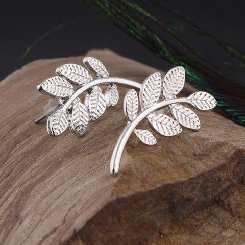 Pair of Trendy Solid Color Leaf Shape Women's Earrings - SILVER