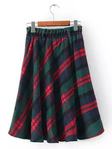 Checked Pattern Elastic Waist Worsted A-Line Fashionable Women's Skirt
