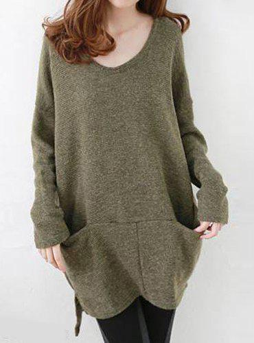Oversized High Low Sweater With Pockets, ARMY GREEN, L in Sweaters ...