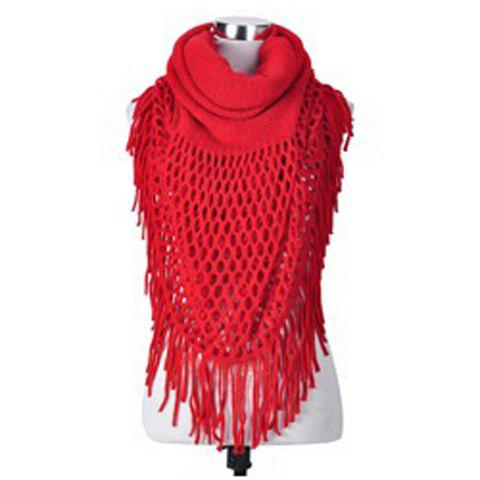 Simple Openwork Design Pure Color Scarf For Women - RED