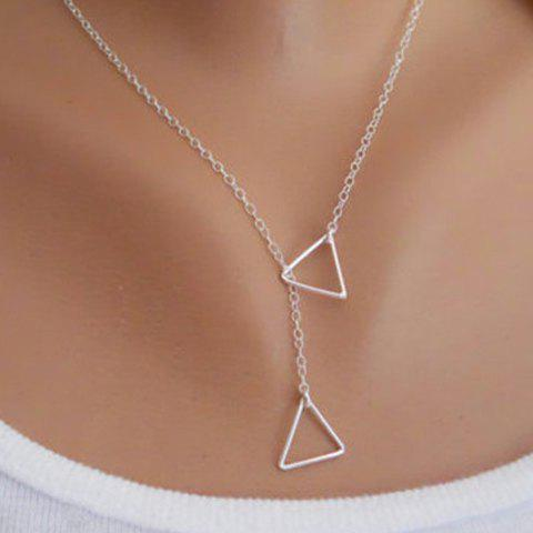 Trendy Solid Color Triangle Embellished Women's Necklace - SILVER