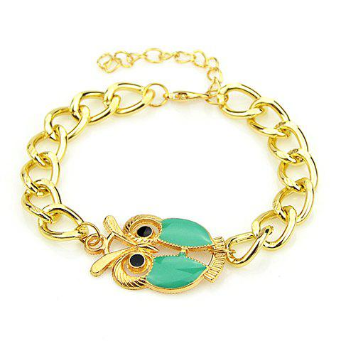 Adjustable Owl Embellished Bracelet - GREEN