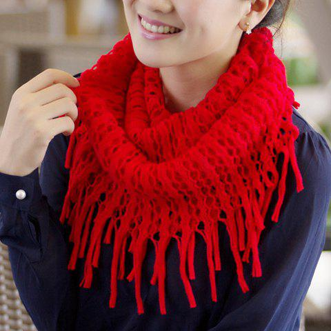 Chic Openwork and Tassels Design Scarf for Women - COLOR ASSORTED
