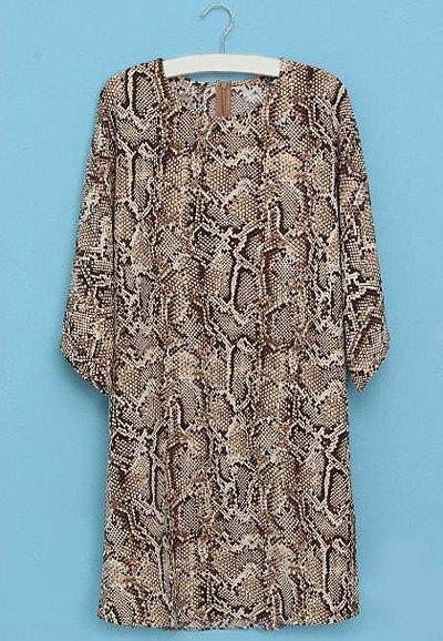 Snake Pattern Round Collar Half Sleeve Trendy Style Women's Dress - BROWN S