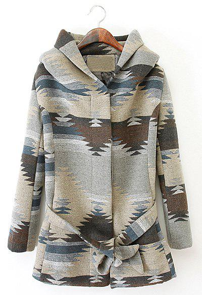 Stylish Abstract Camo Hooded Waistband Design Long Sleeve Woolen Coat For Women - COLORMIX L