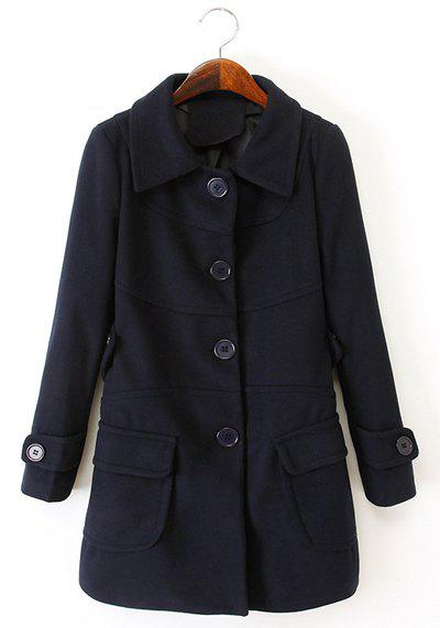 Ladylike Candy Color Turn-Down Collar Single Breasted Long Sleeve Worsted Coat For Women - CADETBLUE M