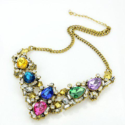Stylish Faux Gemstone Embellished Women's Necklace - COLORFUL