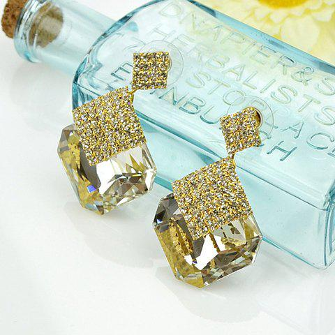 Pair of Fashion Rhinestone Embellished Geometric Splicing Pendant Earrings For Women - WHITE