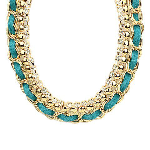 Trendy Solid Color Knit Women's Necklace - GREEN