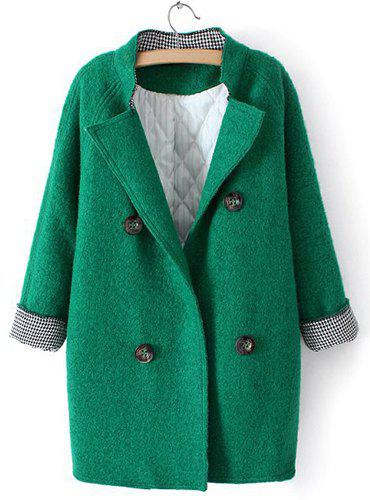 Stylish Solid Color Turn-Down Collar Thicken Long Sleeve Coat For Women - GREEN ONE SIZE(FIT SIZE XS TO M)