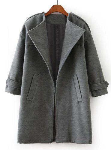 Solid Color Worsted 3/4 Sleeve Turn-Down Collar Fashionable Women's Coat - GRAY L