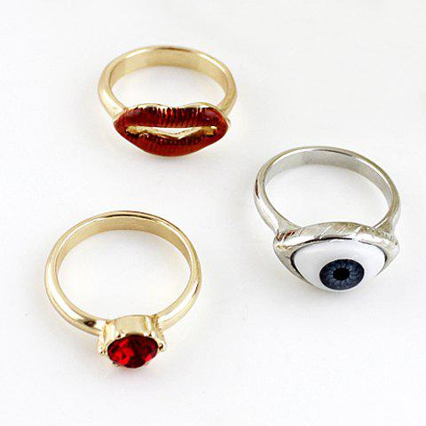 3PCS Cute Eyes and Mouth Shape Embellished Rings For Women - COLORMIX