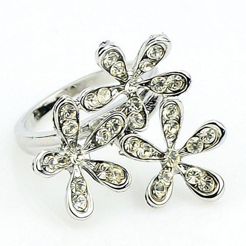 Hot Sale Solid Color Rhinestone Embellished Women's Ring - ONE-SIZE SILVER