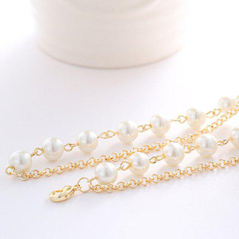 Chic Delicate Women's Pearl Heart Pendant Layered Sweater Chain Necklace - COLORMIX