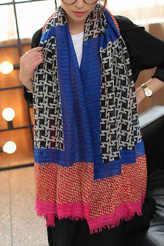 Ethnic Style Houndstooth Print Scarf For Women - BLUE