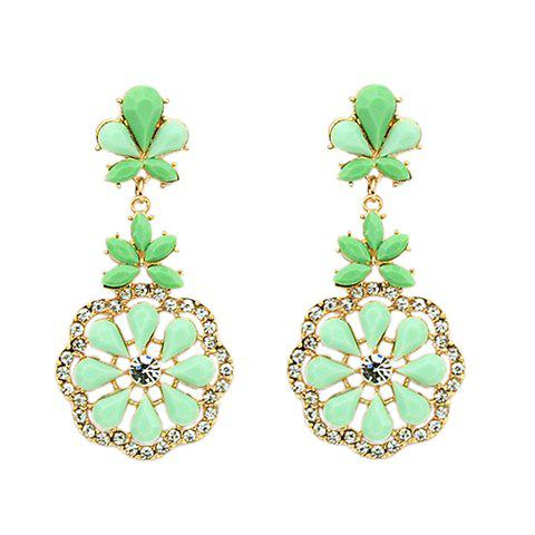 Pair of Hot Sale Candy Color Gemstone Embellished Women's Earrings