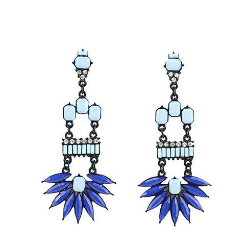 Pair of Hot Sale Blue Gemstone Embellished Women's Earrings