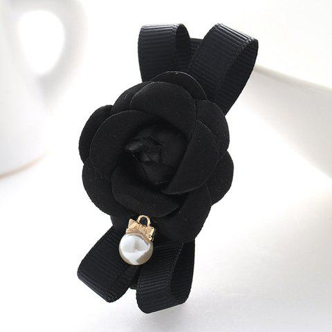 Sweet Cute Women's Pearl Flower Hairpin - BLACK