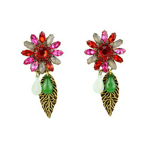 Pair of Retro Style Gemstone Embellished Earrings For Women - COLORFUL