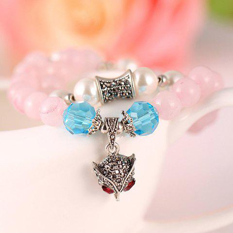 Stylish Chic Women's Rhinestone Crystal Fox Pendant Bracelet - PINK