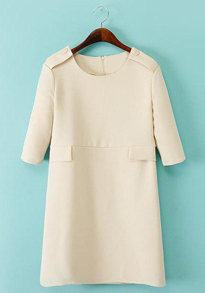 Simple Solid Color Round Collar Short Sleeve Dress For Women - OFF WHITE S