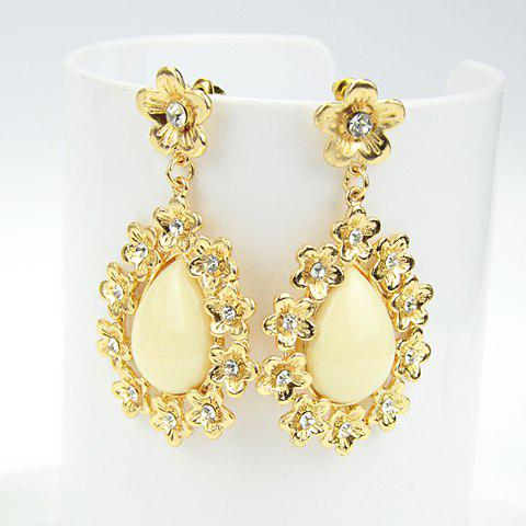 Pair of Flower Waterdrop Shape Drop Earrings - OFF WHITE