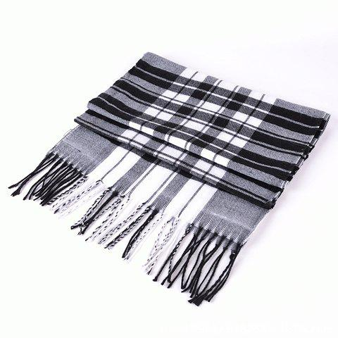 Classical Stripe Print Tassel Decorated Scarf For Men - BLACK