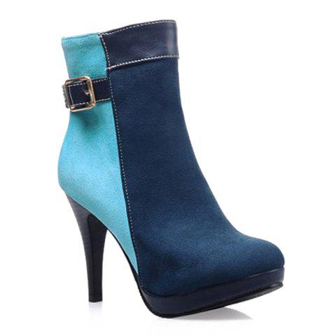 Sexy Splicing and Color Block Design Women's Short Boots - BLUE 38
