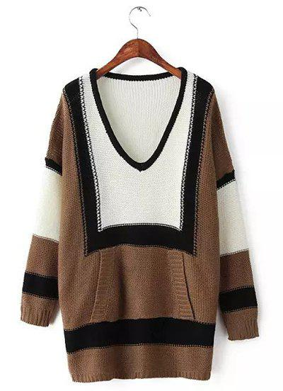 Casual Color Block Plunging Neck Long Sleeve Knitted Dress For Women - KHAKI ONE SIZE(FIT SIZE XS TO M)