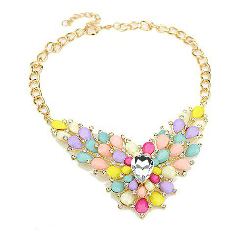 Faux Gemstone Embellished Pendant Necklace - COLORFUL