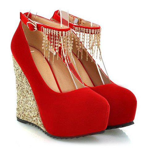 Fashionable Sequins and Tassels Design Wedge Shoes For Women - RED 39