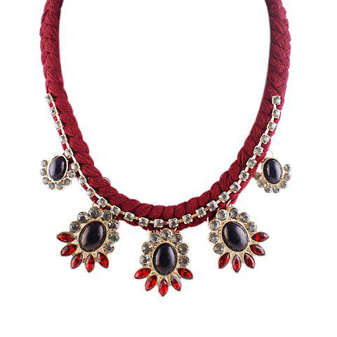 Ethnic Style Faux Gemstone Embellished Pendant Women's Necklace - RED