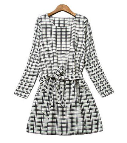 Ladylike Style Jewel Neck Long Sleeve Checked Pattern Self-Tie Women's Dress - CHECKED S